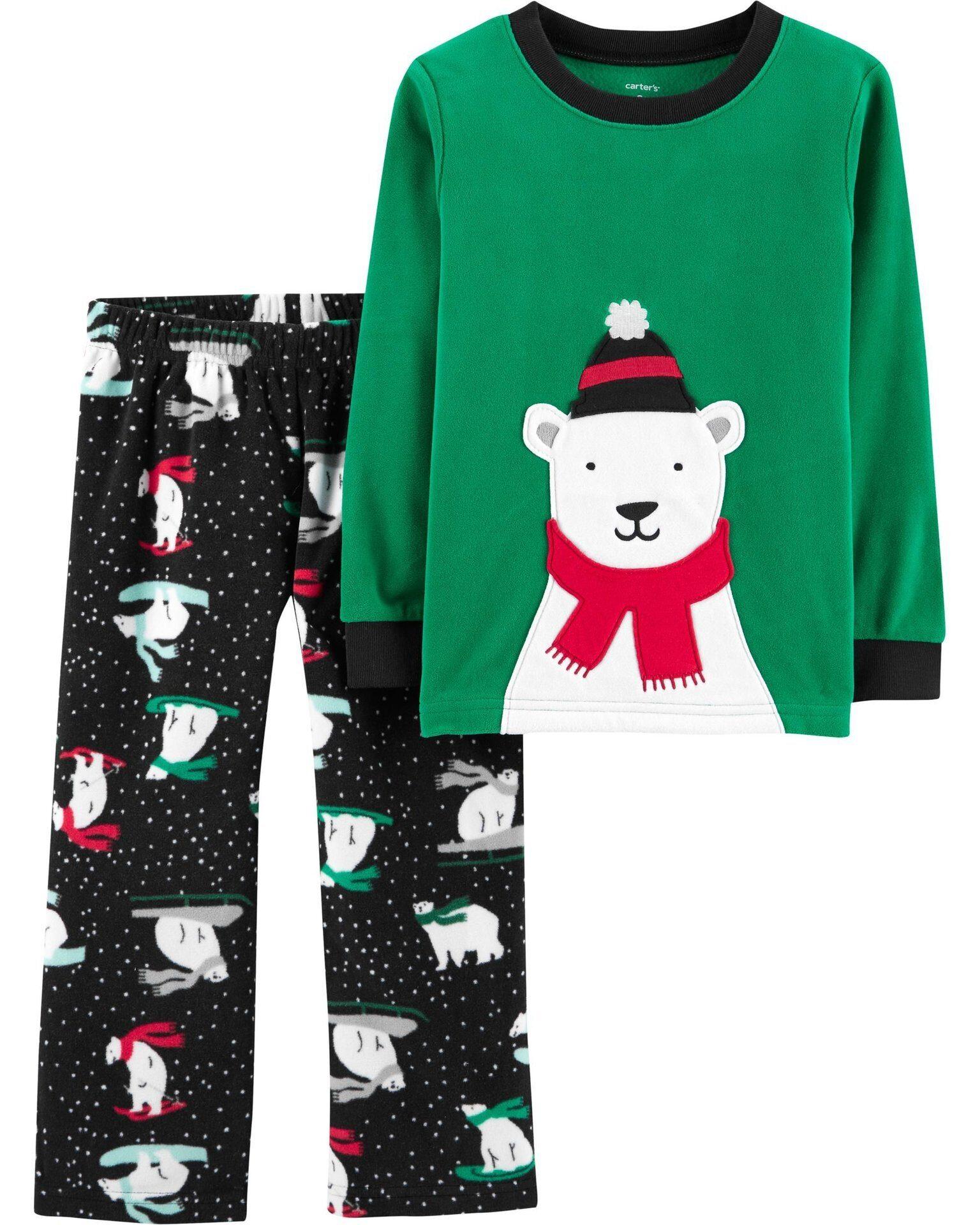 Флисовая пижама для мальчика новогодний белый медведь Carter s(Картерс) 552d05b013b64